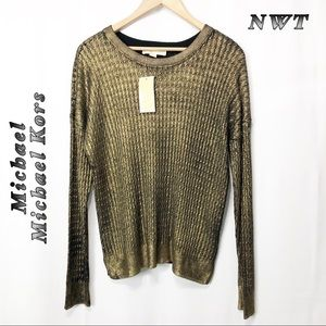 NWT-Michael Kors Gold Black underlay Sweater L